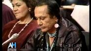 Russell Means testifies at Senate Hearing in 1989 representing First Nation peoples