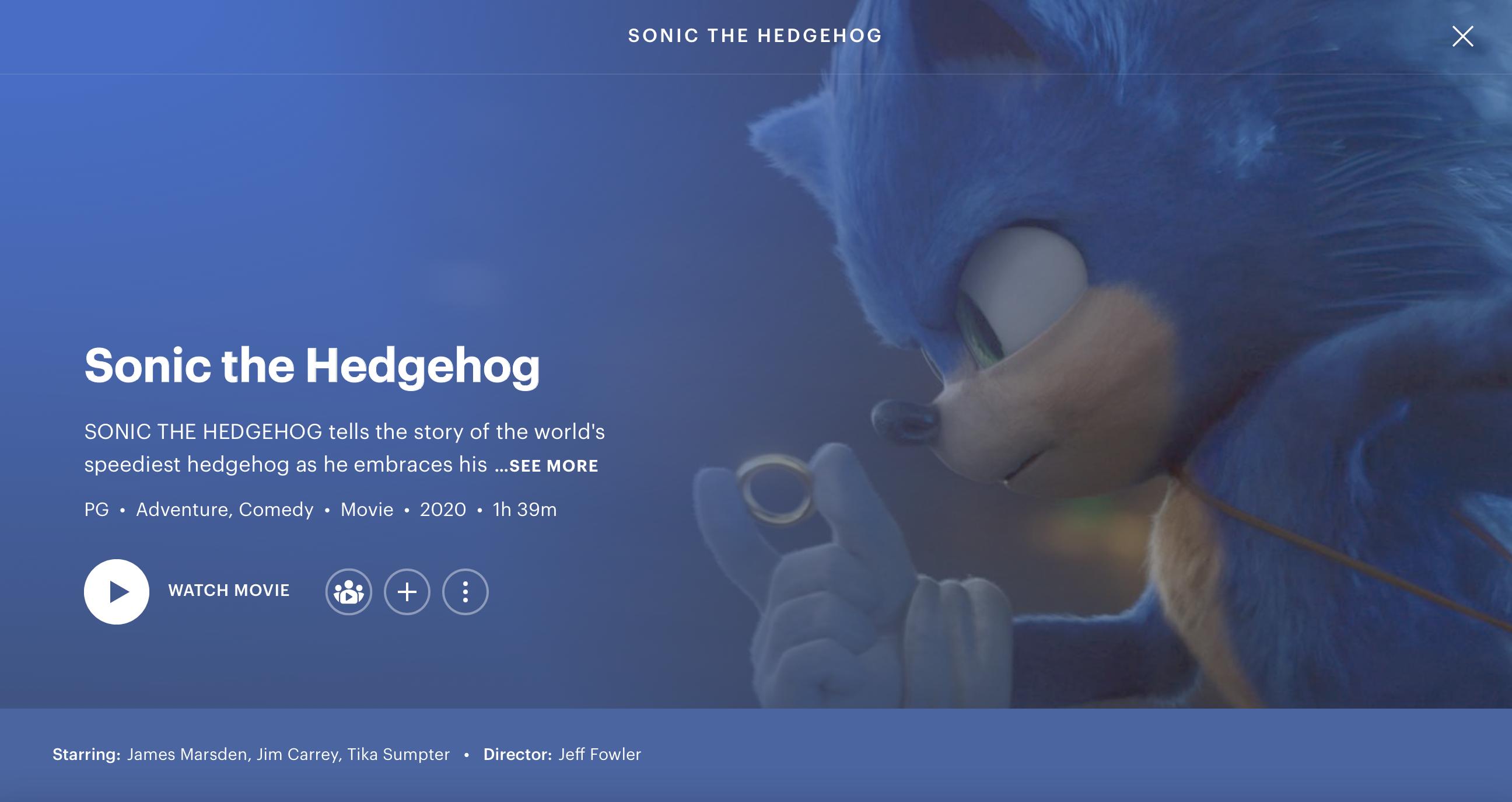 Sonic the Hedgehog film now on Hulu   Fandom