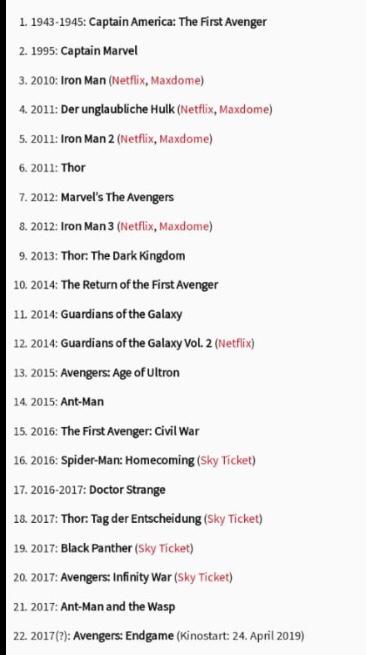 avengers filme reihenfolge