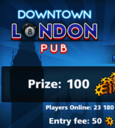 London Pub entry fee and prize 2