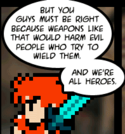 Fighter is still compensating for his roughly six lines over the past 500 comics by being smart