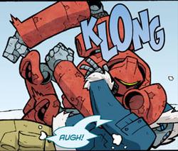 That's gotta hurt... if he wasn't a robot