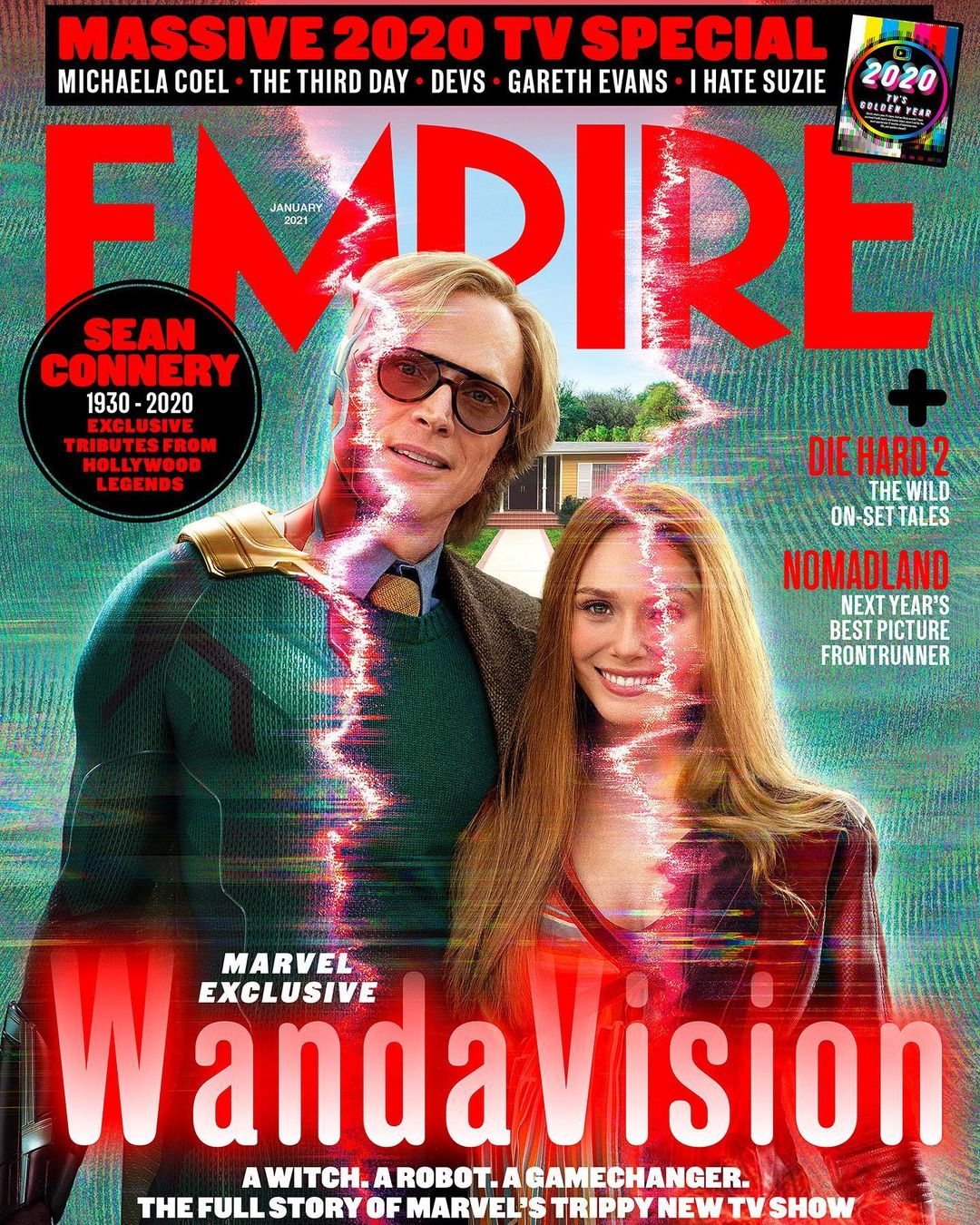 """Empire Magazine's Instagram post: """"A bold new era. Welcoming in the future of the MCU, Empire's WandaVision cover gets to know Marvel's strangest couple. Get the full story –…"""""""