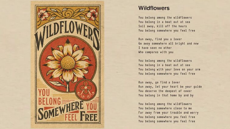 Tom Petty - Wildflowers (Official Lyric Video)