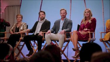 Jason Priestley, Jennie Garth, Ian Ziering, and Gabrielle Carteris in BH90210 S1 E1 The Reunion