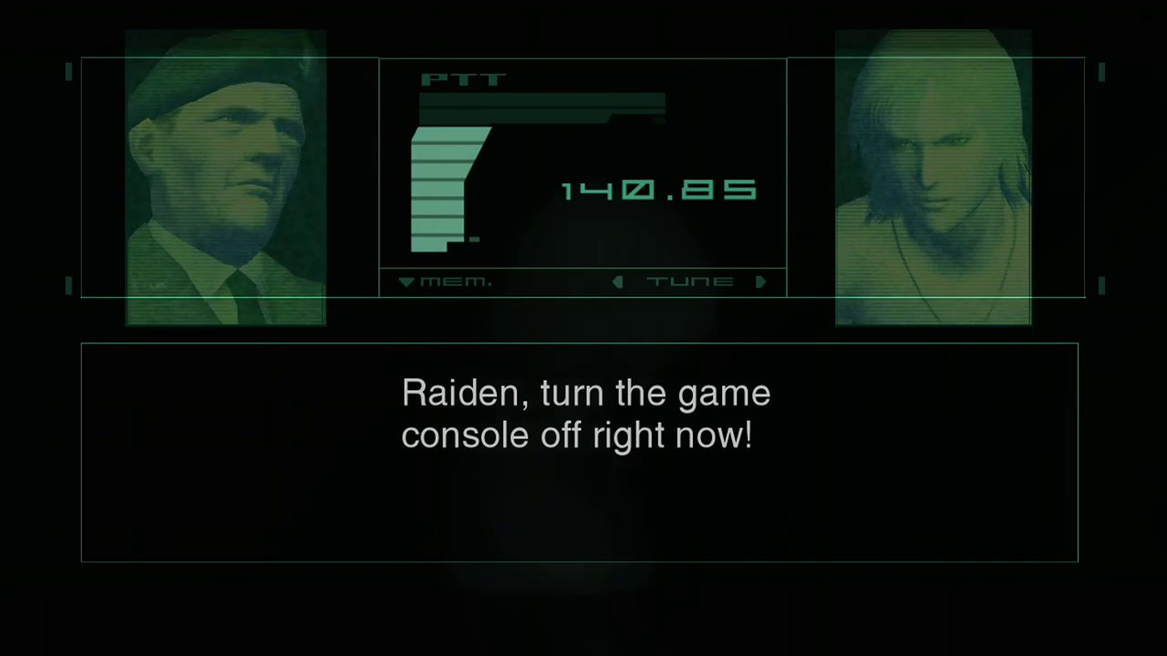 Raiden, turn the game console off right now! (MGS2)
