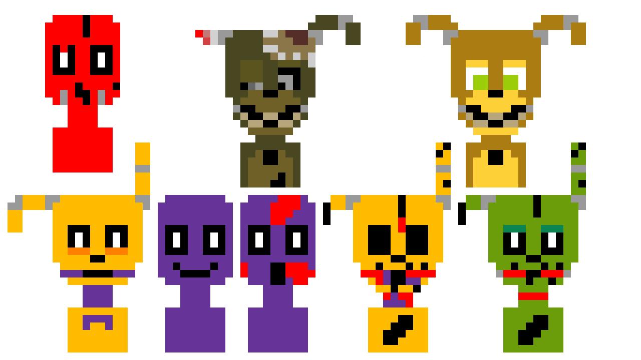 8-bit springbonnie and purple guy