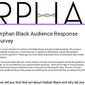 Orphan Black Audience Response Survey