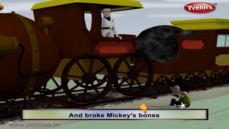 Mickey🐭 on a railway🚊 picking up stones💎 down came an engine🚂 and broke mickeys bones💀