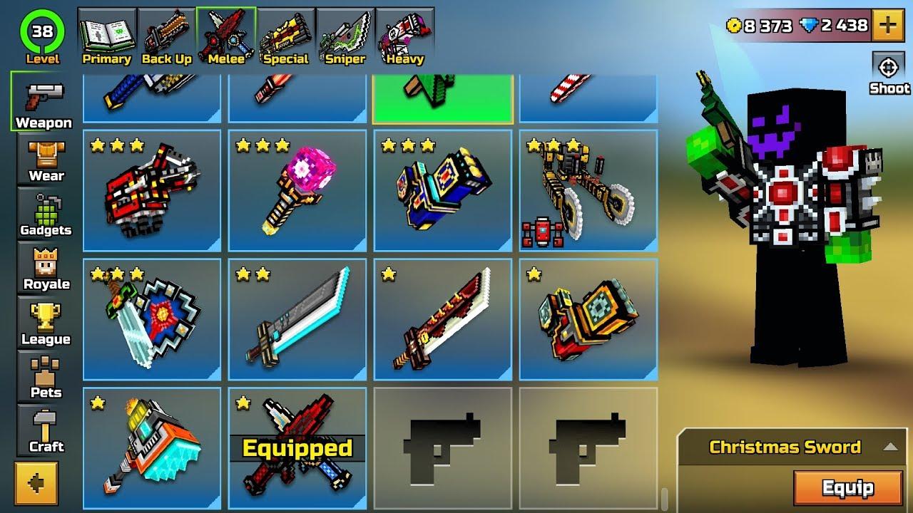 Pixel Gun 3D - ALL Melee Weapons Shots Damage 15.1.0