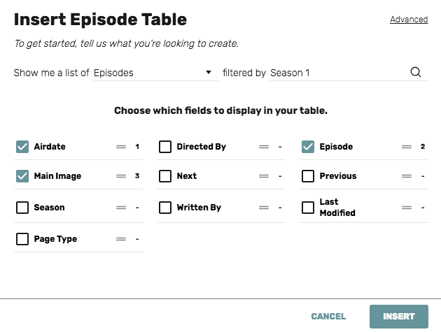 episode table