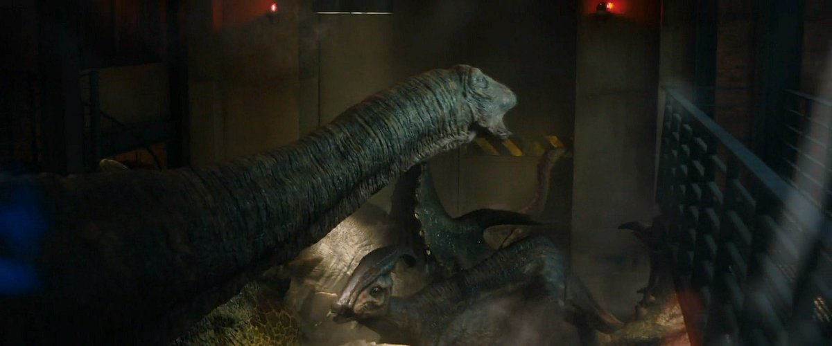 parasaurolophus has mixed with all herbivore species in the films so far.