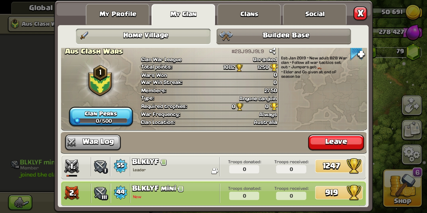 NEW WAR Clan looking for members. Will start war when enough join. CWL starting soon.