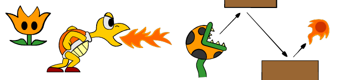 Piranha Plant shown with the fire flower powerup with Koopa