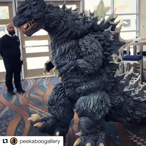 "@kaijukrys on Instagram: ""Fusion Godzilla emerging into the halls of Midsummer Scream after rampaging through the live auction of vintage Godzilla collectibles…"""