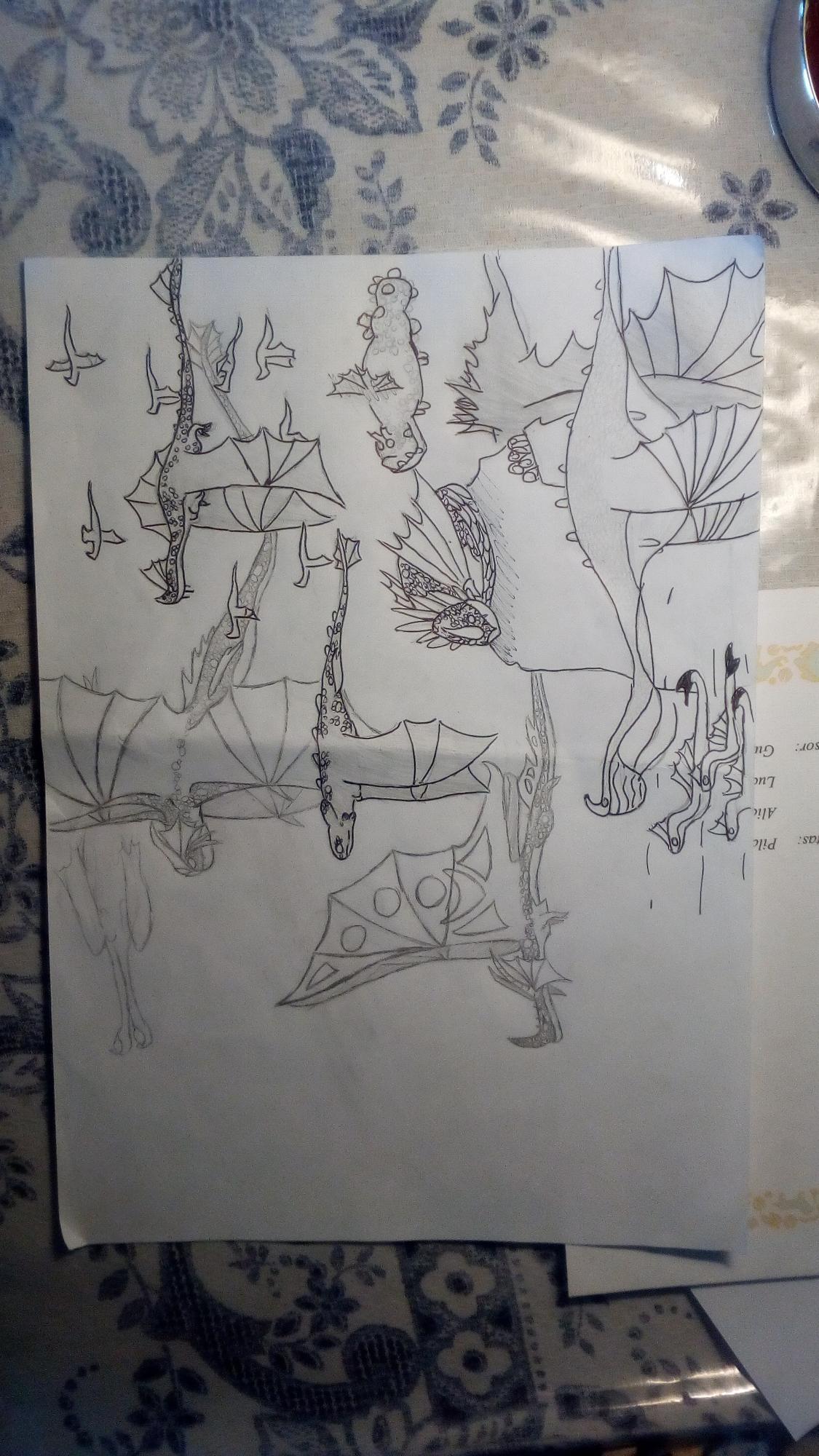 Miren el dibujo que estoy haciendo, a que no saben cuántos dragones hay jaja