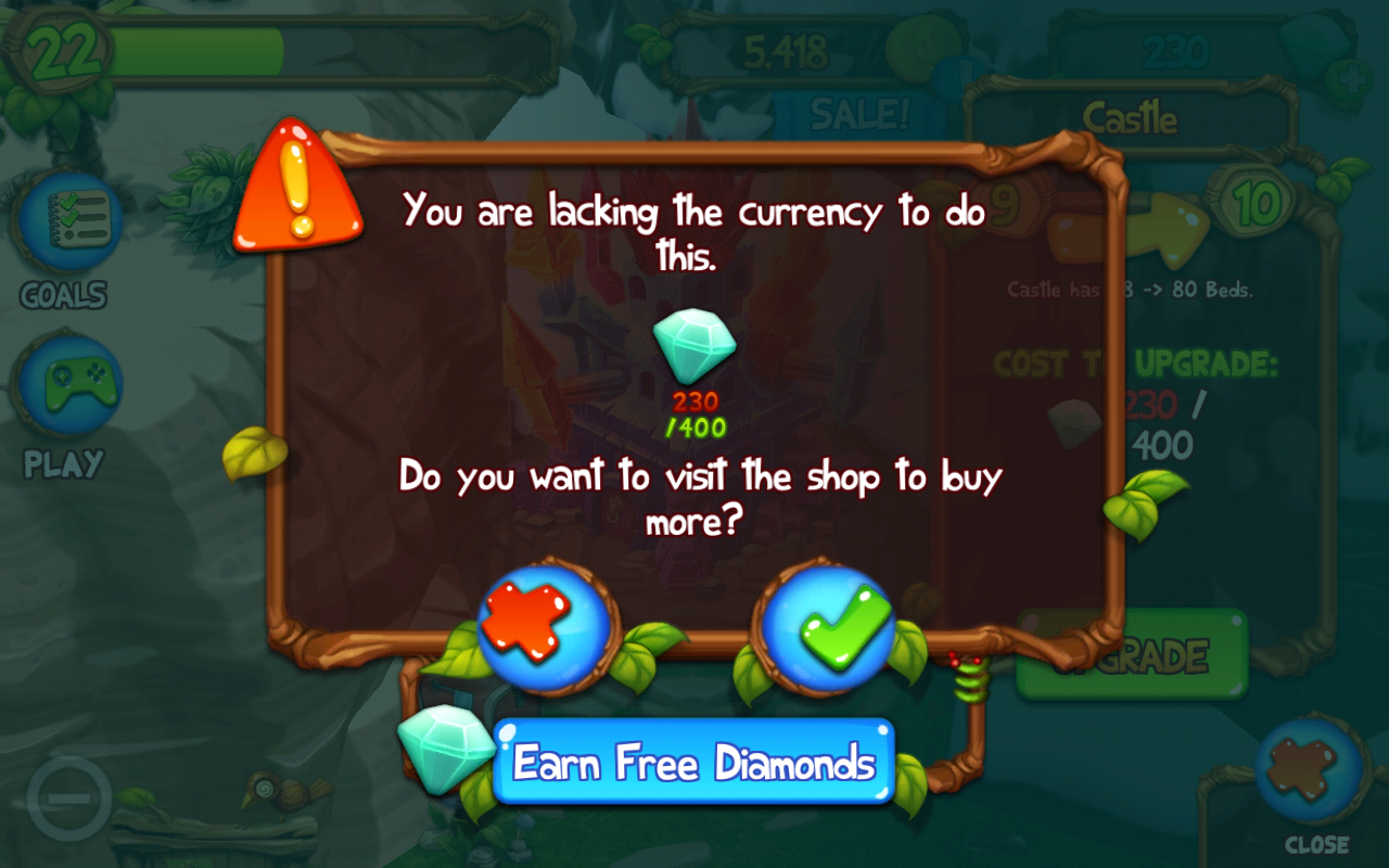 I just found out that the dawn of fire castle costs 400 dimonds