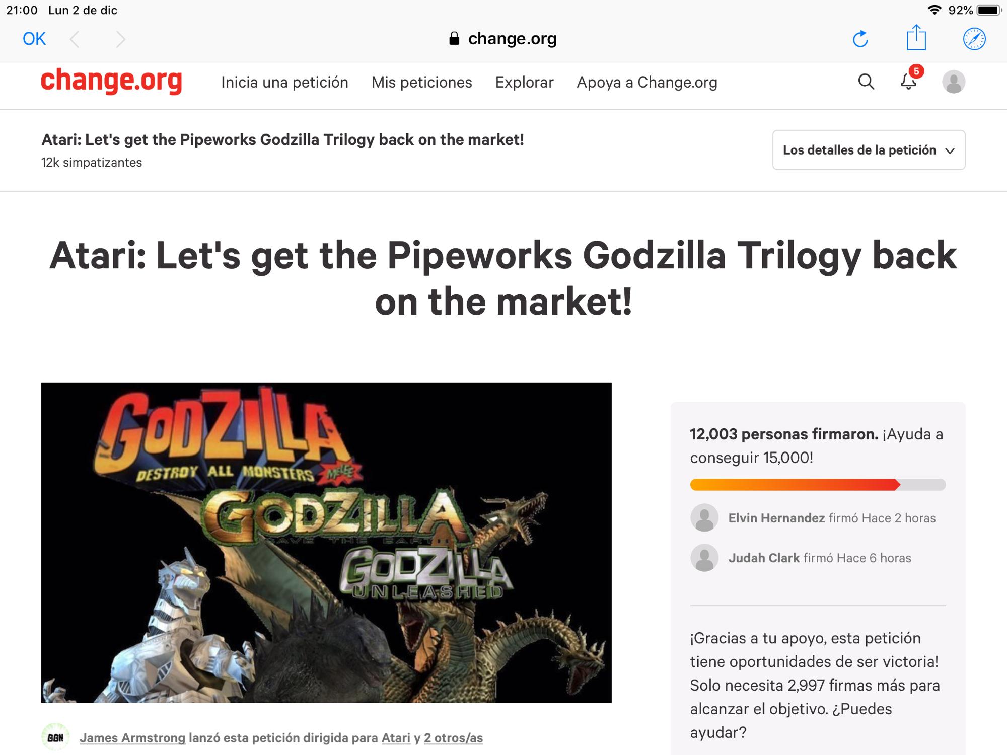 Petición de godzilla