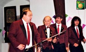 Driekoningenfeest 1996 De Prinsengarde Michel Heck, Paul Kinoo, Patrick De Neve, Werner Kinoo.jpg