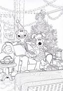 Wallace And Gromit Watching TV Colouring