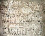 Detalle de una reconstrucción de un relieve del Arco de Septimio Severo, que muestra la captura de Edesa. nazionale della Museo Civiltà Romana , Roma.