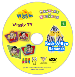 The Wiggles and Bananas in Pyjamas - Wiggly TV and Rock-A-Bye Bananas re-released DVD Cover - Disc.png