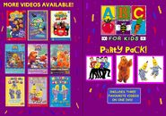 ABC for Kids Party Pack DVD Booklet - Front and Back
