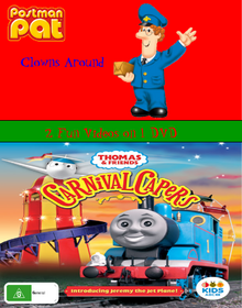 Postman Pat and Thomas and Friends Postman Pat Clowns Around and Carnival Capers DVD Cover Updated.png