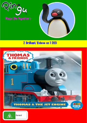 Pingu and Thomas and Friends Pingu the Superhero and Thomas and the Jet Engine DVD Cover.png