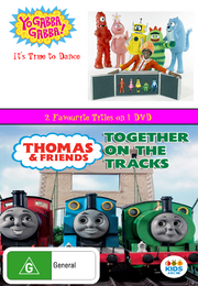 Yo Gabba Gabba and Thomas and Friends It's Time to Dance and Together on the Tracks DVD Cover.png