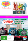 Yo Gabba Gabba and Thomas and Friends It's Time to Dance and Together on the Tracks DVD Cover