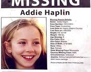 Addie Haplin missing flyer