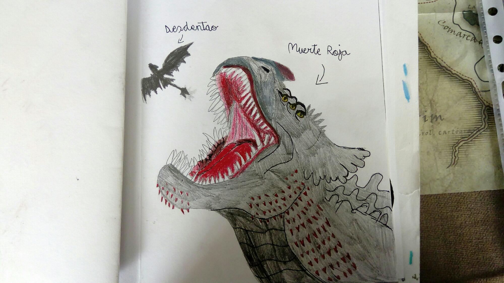Dibujo libro de dragones: muerte roja vs desdentao (chimuelo)