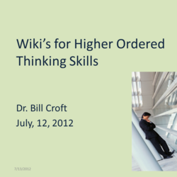 Wiki's for Higher Ordered Thinking