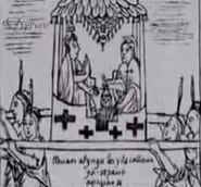 Drawing 130 The Inka's litter of precious stones - qhispi rampa