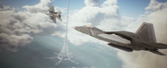 Lighthouse F-22A FA-18F Flyby