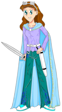 Alice, complete with cloak, power sword and goggles.