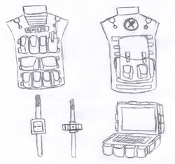 The varying pieces of equipment for the armour.