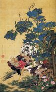 1200px-Rooster and Hen with Hydrangeas