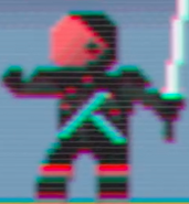 A Red Visor Pixelated