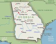 Physical Georgia state map