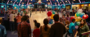 The Heffleys inside the roller rink