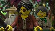 The adult explorers in the island jungle