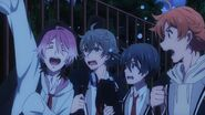 Uta cheering with Saku, Sosuke, and Hinata feeling worried