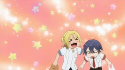 Ryo patting Saku on the back happily.jpg