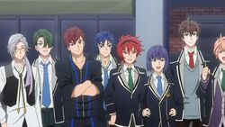 Chiguma, Mike, Kai, Kagetora, Takato, Tsukasa, and Ushio waiting for Sakutasuke to perform.jpg