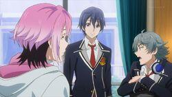 Sosuke and Uta agreeing to go with Saku to see his sister.jpg