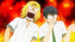 Ryo getting angry at Satsuma for being told that he is useless.jpg