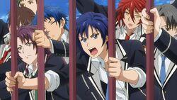 Kakeru, Itto, Hozumi, and Takato pushing against the gates.jpg