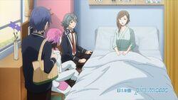 Nozomi asking Saku, Sosuke, and Uta words fall from the sky.jpg